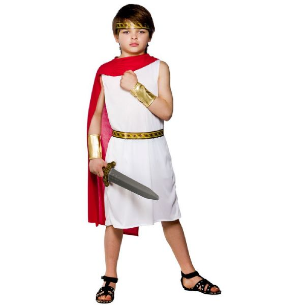Childrens Boys Roman Boy Costume for Ancient Rome Greek Latin Fancy Dress